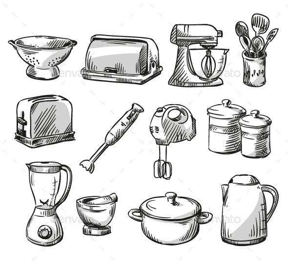 Set of Kitchen Appliances - Objects Vectors