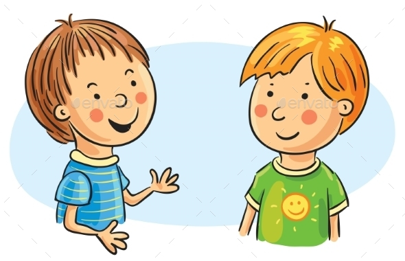 two cartoon boys talking by katya dav graphicriver rh graphicriver net Cartoon People Thinking cartoon people walking