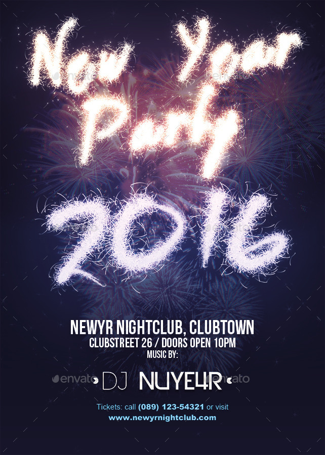 New Year   Party Flyer Template By Overstage  Graphicriver