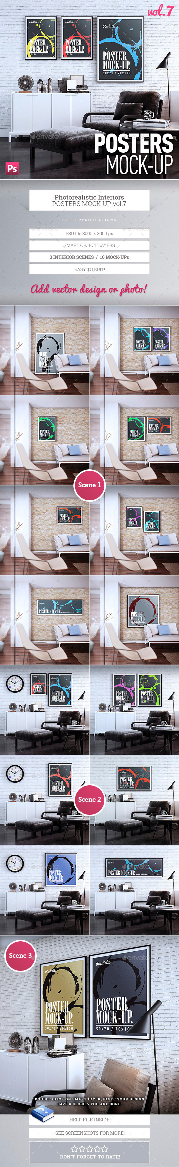 Posters Mock-Up vol.7 - Product Mock-Ups Graphics