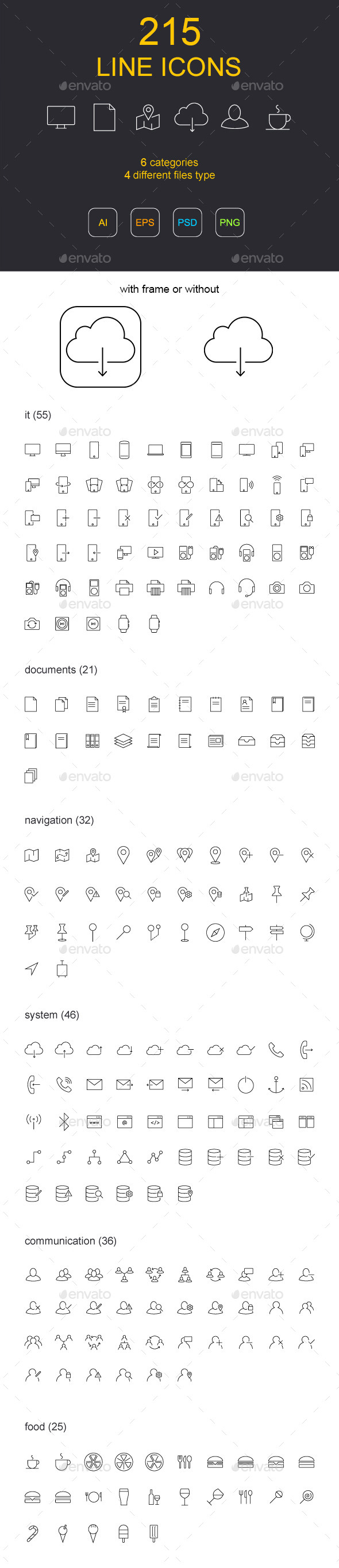 215 Line Icons - Icons