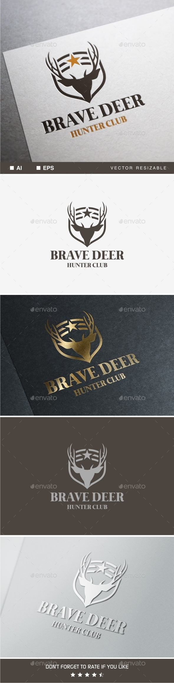 Brave Deer Logo - Animals Logo Templates