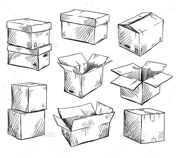 Set of Doodle Cardboard Boxes - Objects Vectors