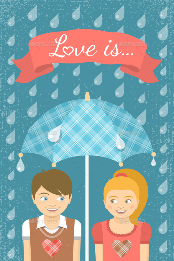 Boy and Girl in Love Under Umbrella - Valentines Seasons/Holidays