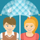 Boy and Girl in Love Under Umbrella - GraphicRiver Item for Sale