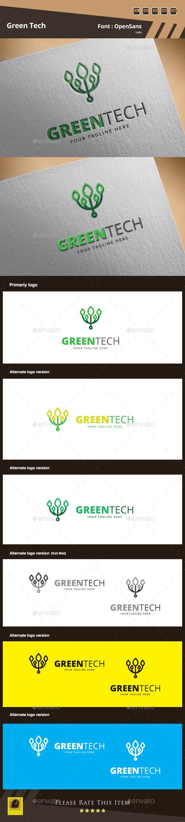 Green Tech Logo Template - Symbols Logo Templates
