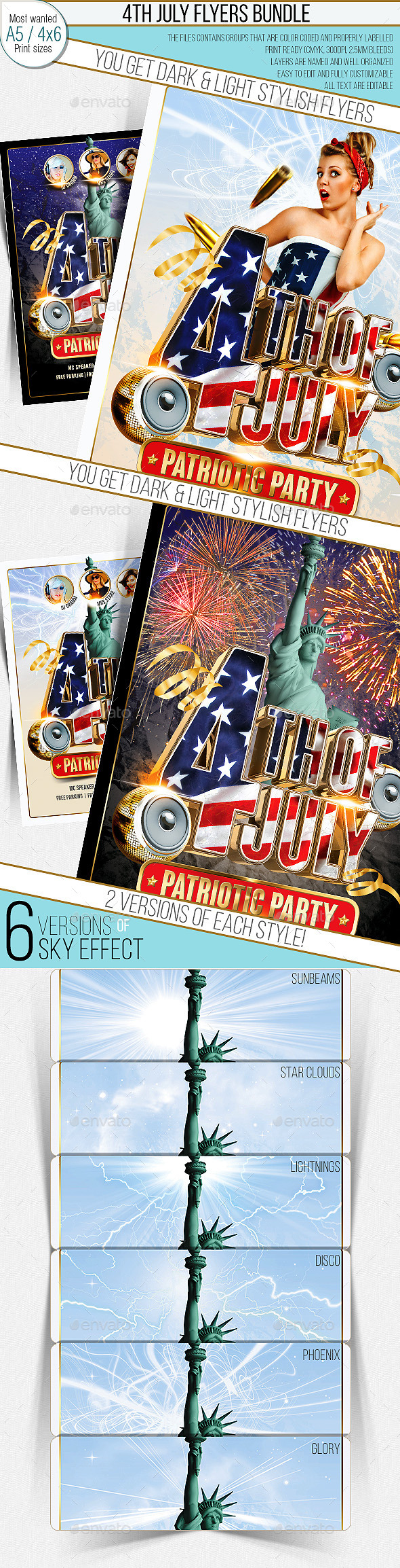 4th Of July Party Flyer. Multistyle. Bundle - Clubs & Parties Events