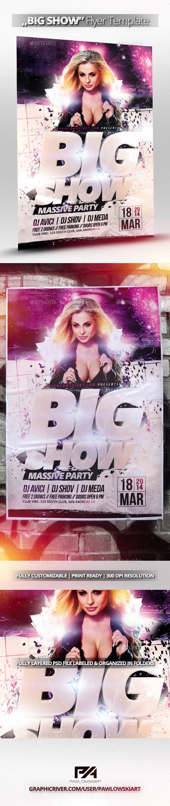 BIG SHOW Party Flyer Template - Clubs & Parties Events