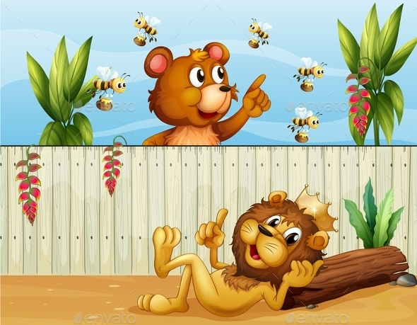 Lion and Bear with Bees - Animals Characters