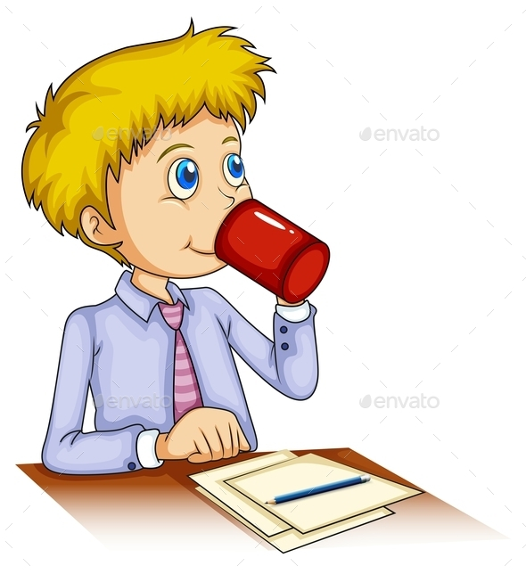 Businessman Drinking Coffee  - People Characters