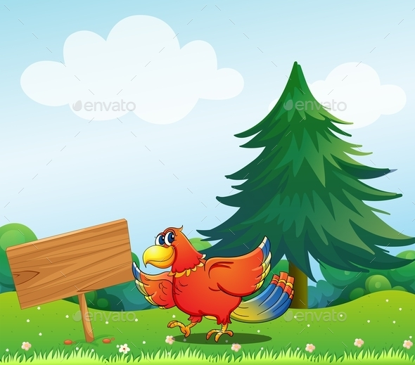 Chicken Beside an Empty Wooden Signboard  - Animals Characters