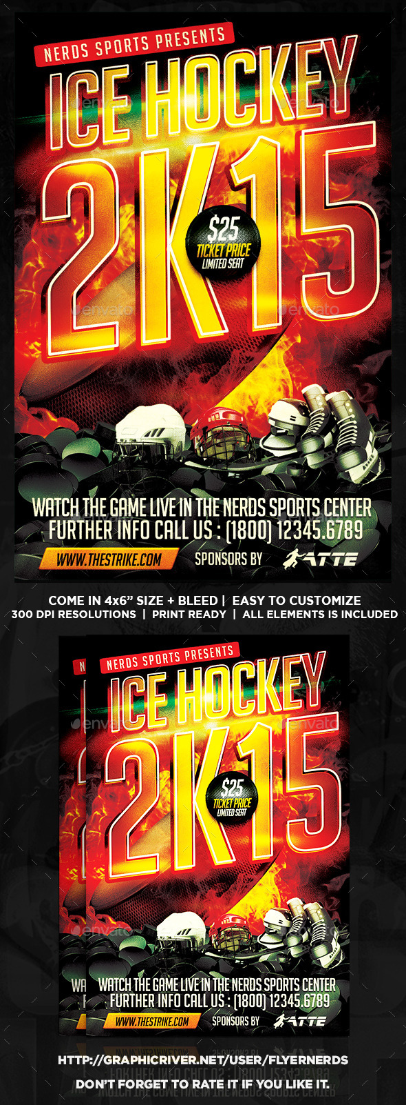 Ice Hockey 2K15 Championships Flyer - Sports Events