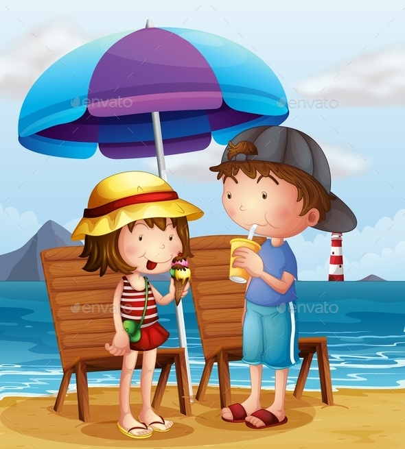 Kids at the Beach - People Characters