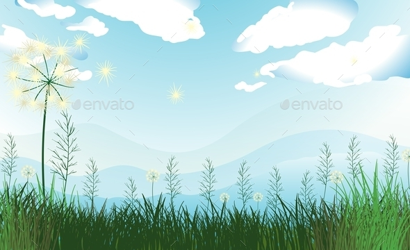 Tall Grasses Under the Blue Sky - Landscapes Nature