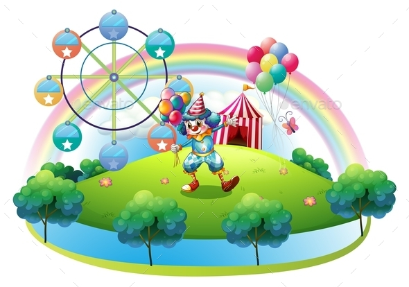 Clown with Balloons at the Carnival - People Characters