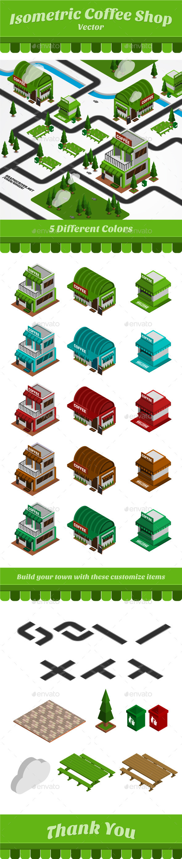 Isometric Coffee Shop - Buildings Objects