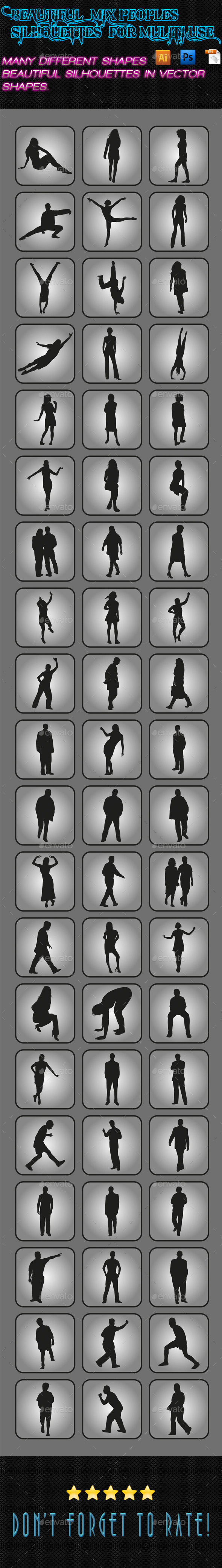 Mix Peoples Silhouettes 02 - People Characters