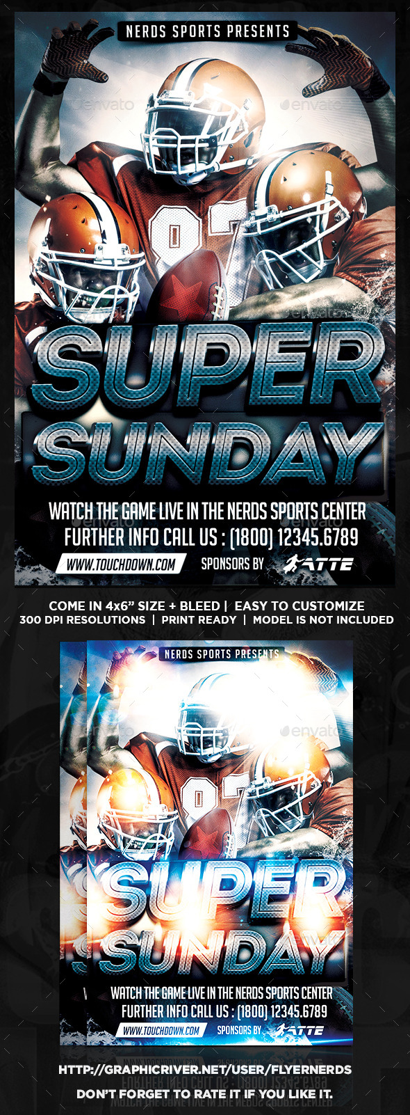 Super Sunday Football Night Sports Flyer - Sports Events