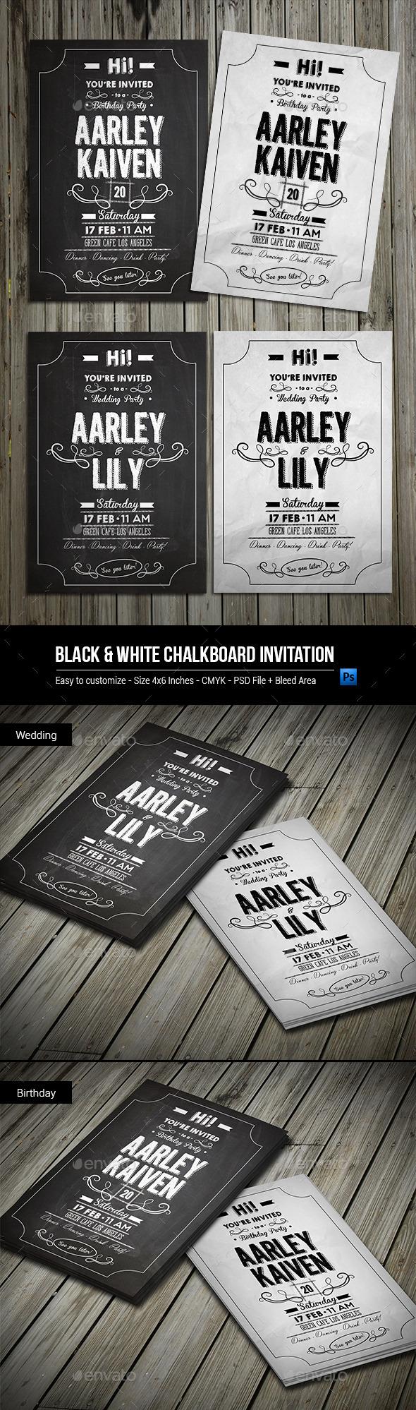 Black & White Chalkboard Invitation - Invitations Cards & Invites