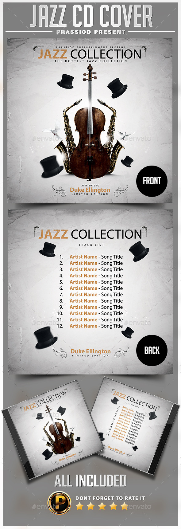 Jazz CD Cover Template - CD & DVD Artwork Print Templates