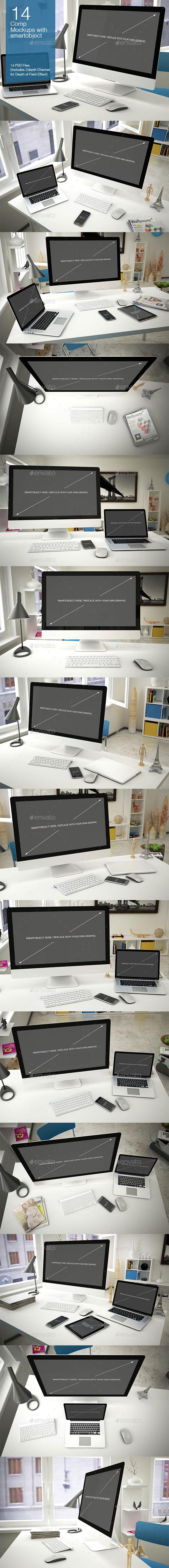 Computer Mockup 14 Poses - Multiple Displays