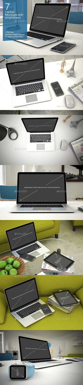 Laptop Mockup 7 Poses - Laptop Displays