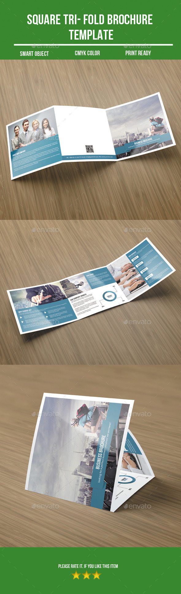 Square Tri- Fold Business Brochure - Corporate Brochures