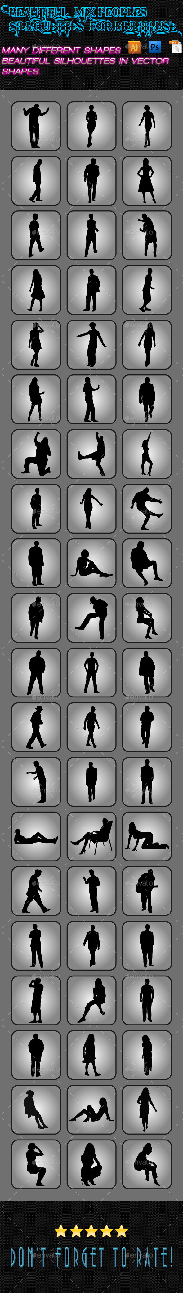 Mix Peoples Silhouettes 03 - People Characters