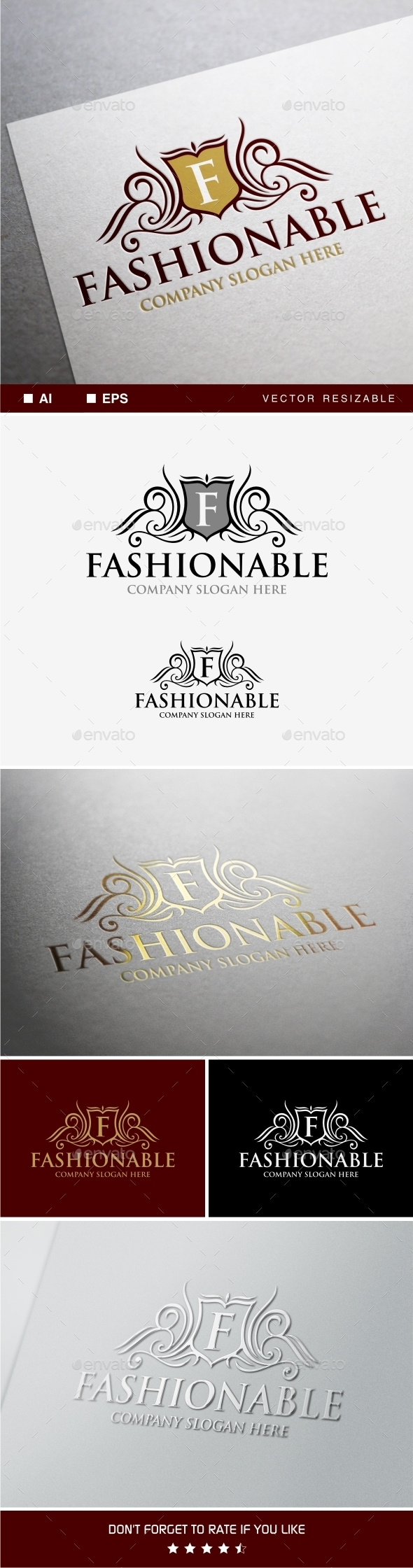 Fashionable Logo Template - Crests Logo Templates