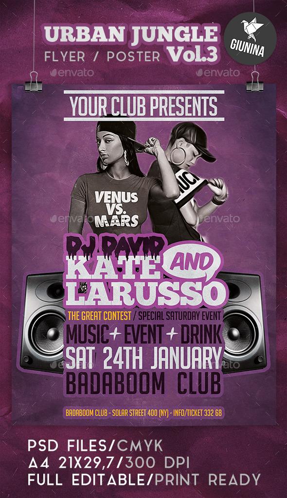 Urban Jungle Vol.3 Flyer/Poster - Clubs & Parties Events