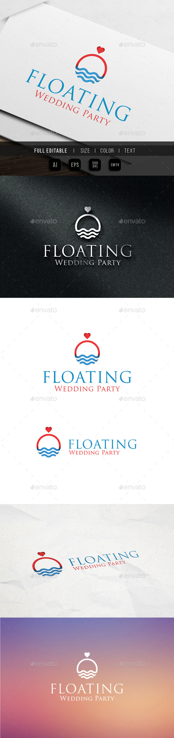 Floating - Wedding Events & Party - Abstract Logo Templates
