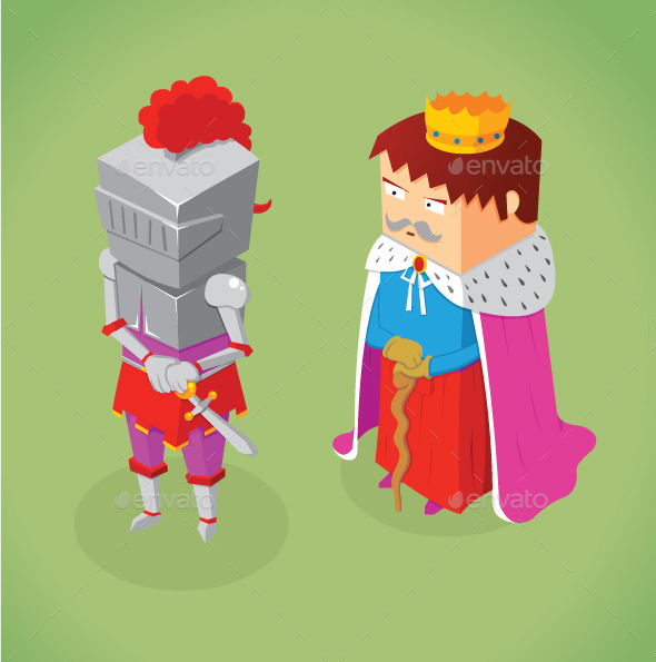 Isometric King and Knight - People Characters