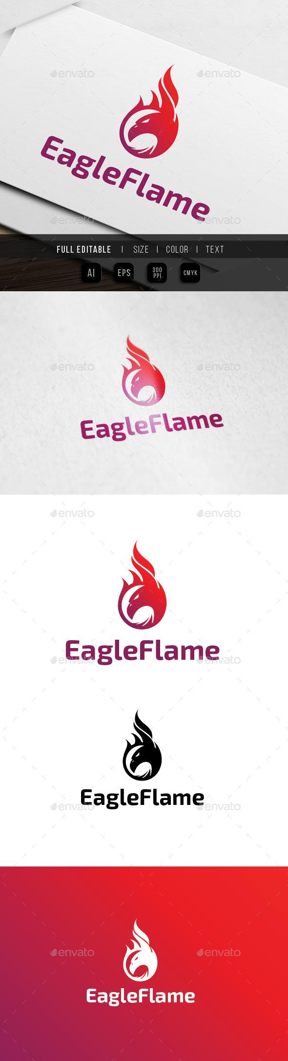Eagle Flame / Fire Logo - Animals Logo Templates