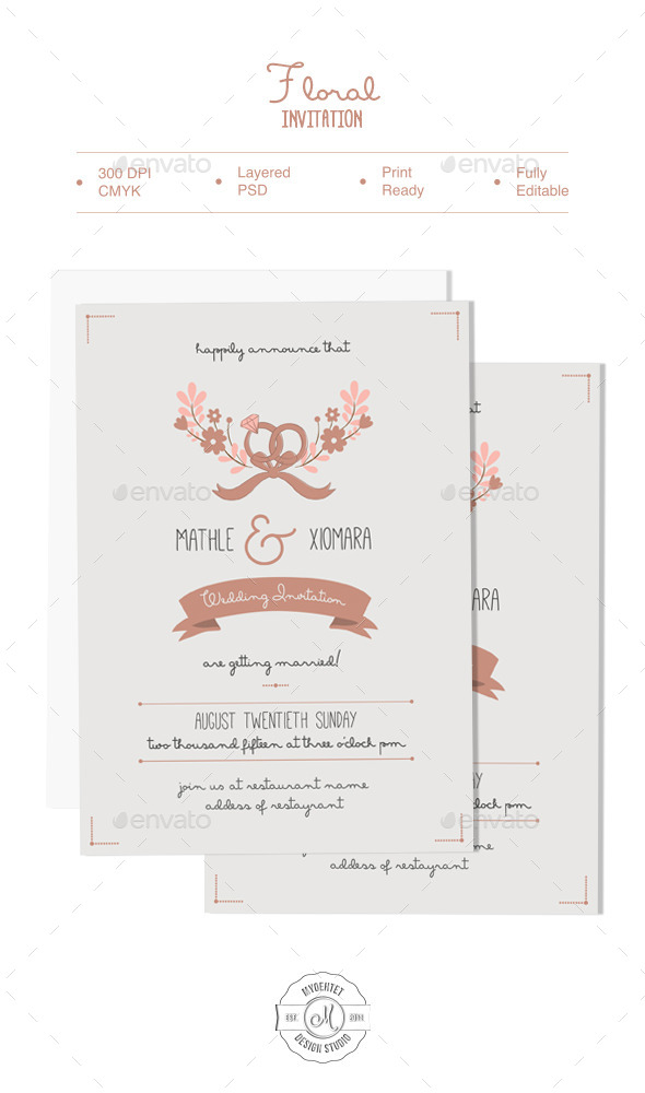 Floral Invitation - Cards & Invites Print Templates