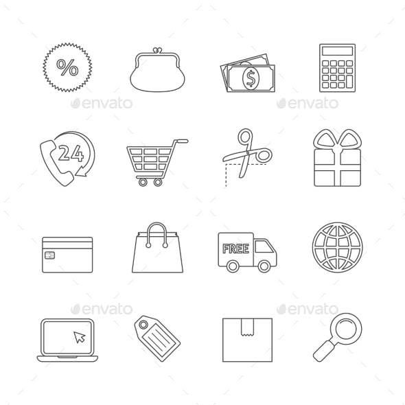 Shopping Thin Line Icons - Business Icons