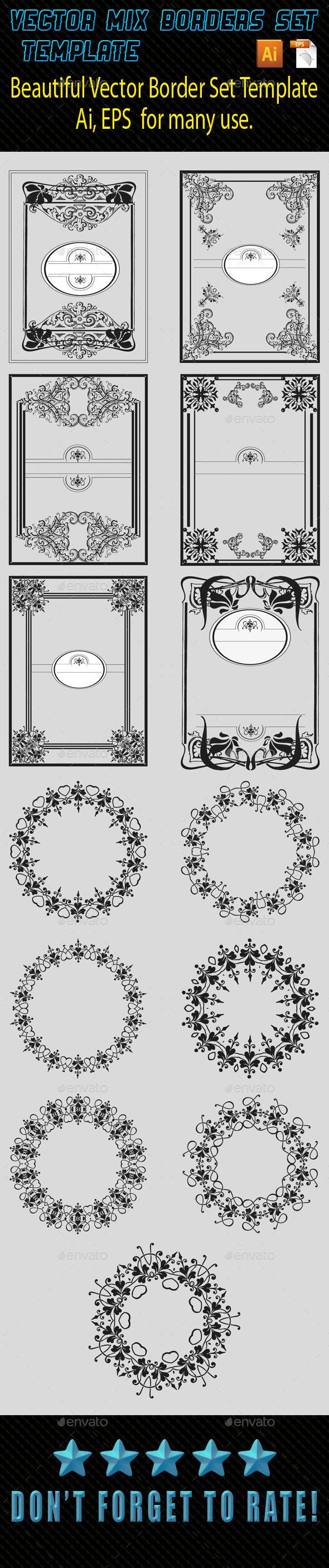 Vector Mix Borders Template 02 - Borders Decorative
