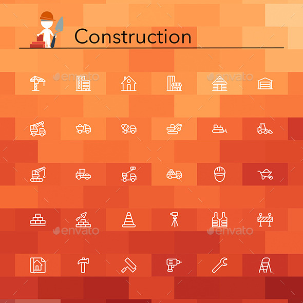 Construction Line Icons - Web Icons