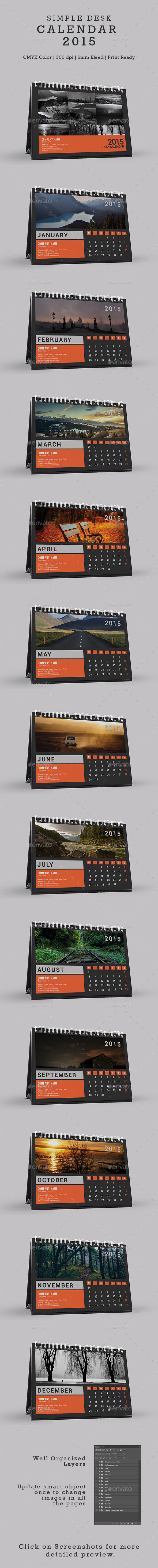 Simple Desk Calendar 2015 - Calendars Stationery