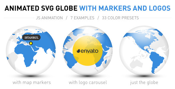 Download Animated SVG Globe with Markers and Logos nulled version