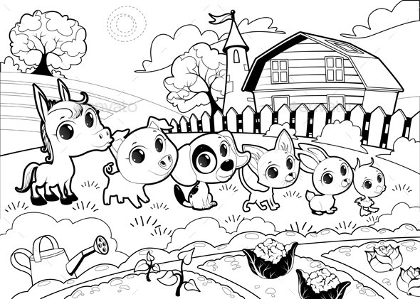 Farm Animals in a Garden - Animals Characters