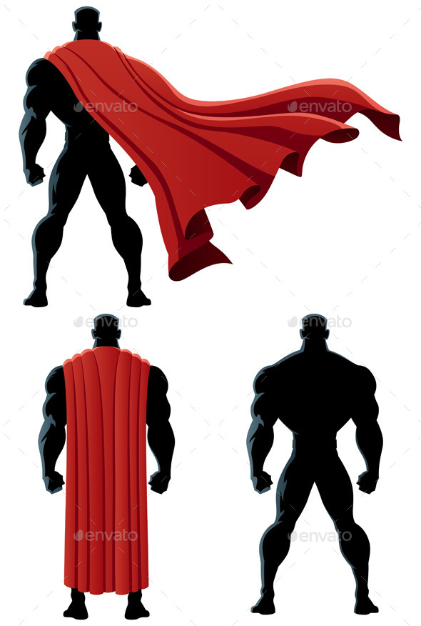 Superhero Back Isolated - Characters Vectors