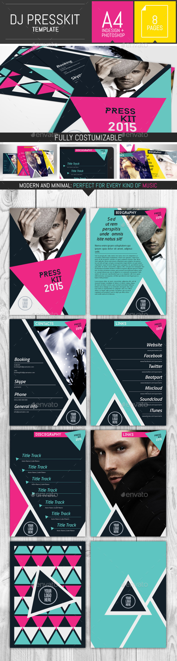 Geometric Dj and Musician Presskit Template - Resumes Stationery