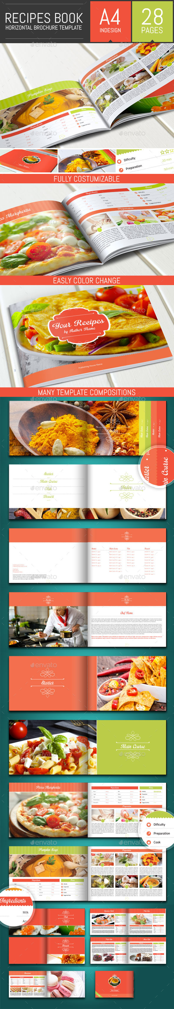 Recipes Book - Horizontal Brochure Template - Informational Brochures