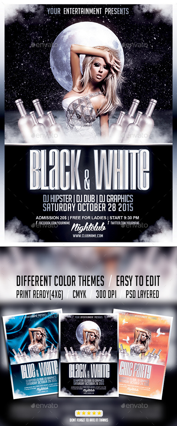 Black & White Chic Party PSD Flyer Template - Events Flyers