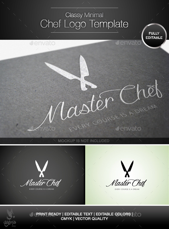 Classy and Minimal Chef Knife Logo Template - Food Logo Templates
