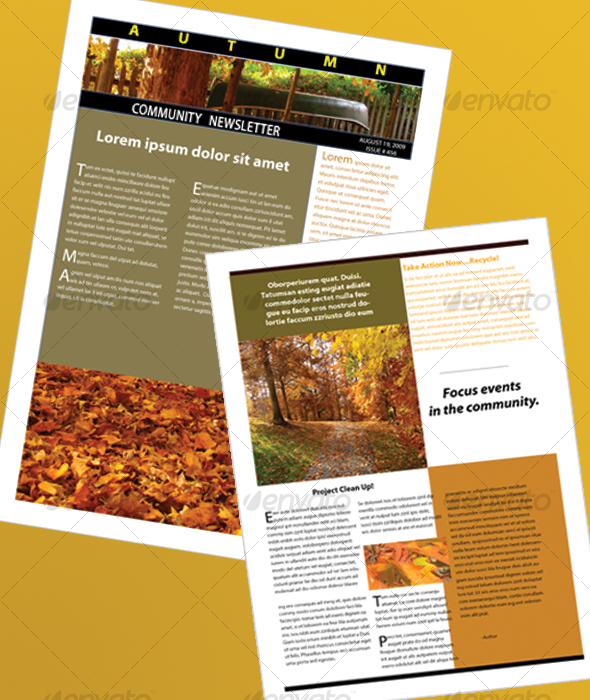 The Autumn Newsletter - Newsletters Print Templates