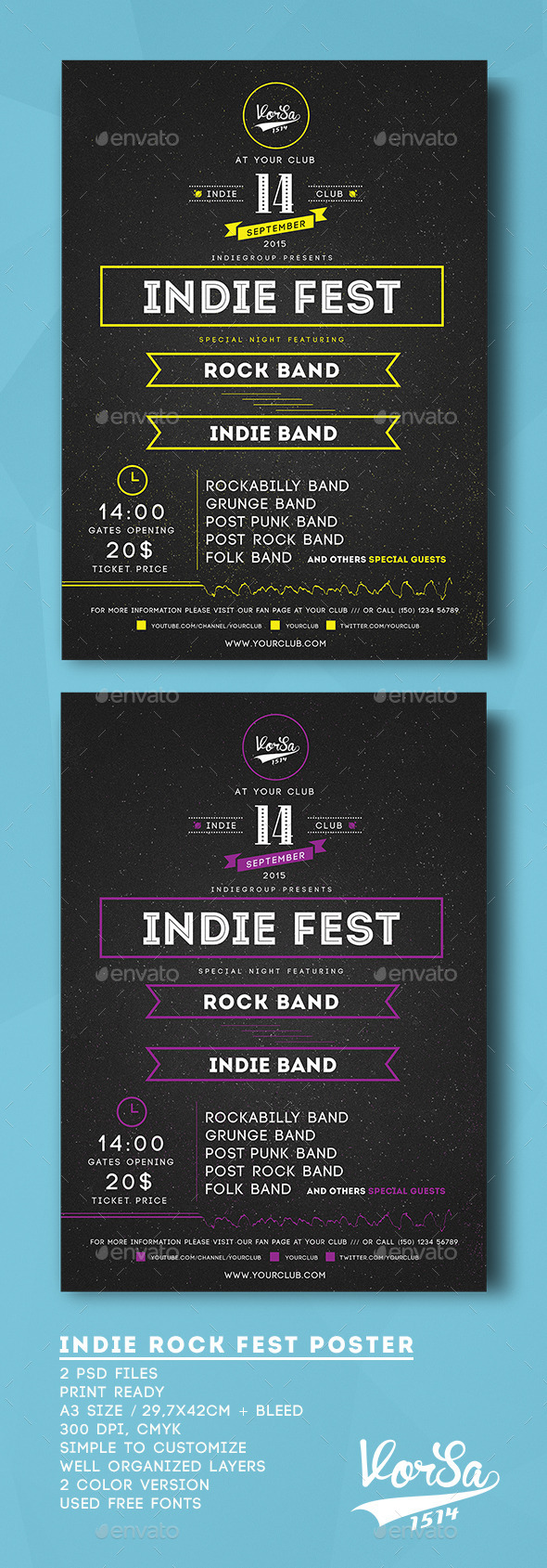 Indie Rock Fest Poster - Clubs & Parties Events