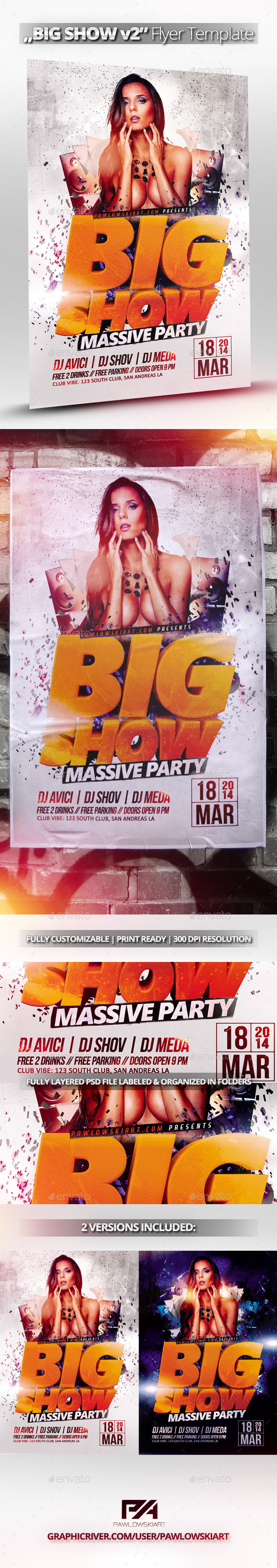 BIG SHOW v2 Party Flyer Template - Clubs & Parties Events