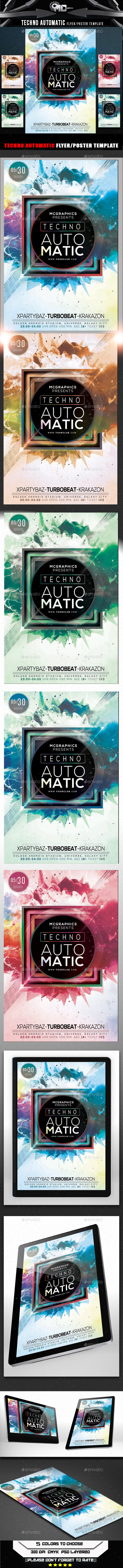 Techno Automatic Flyer Template - Flyers Print Templates