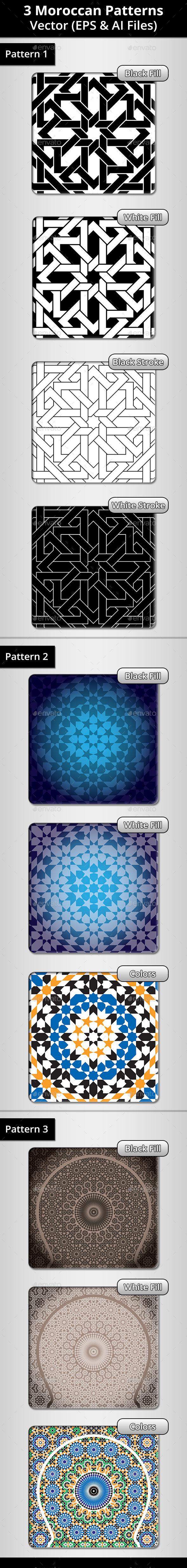 3 Moroccan Patterns Bundle 3 - Patterns Decorative